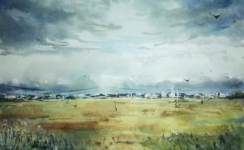 картина пейзаж акварель