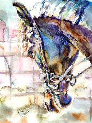 Картина акварелью Лавандовый конь