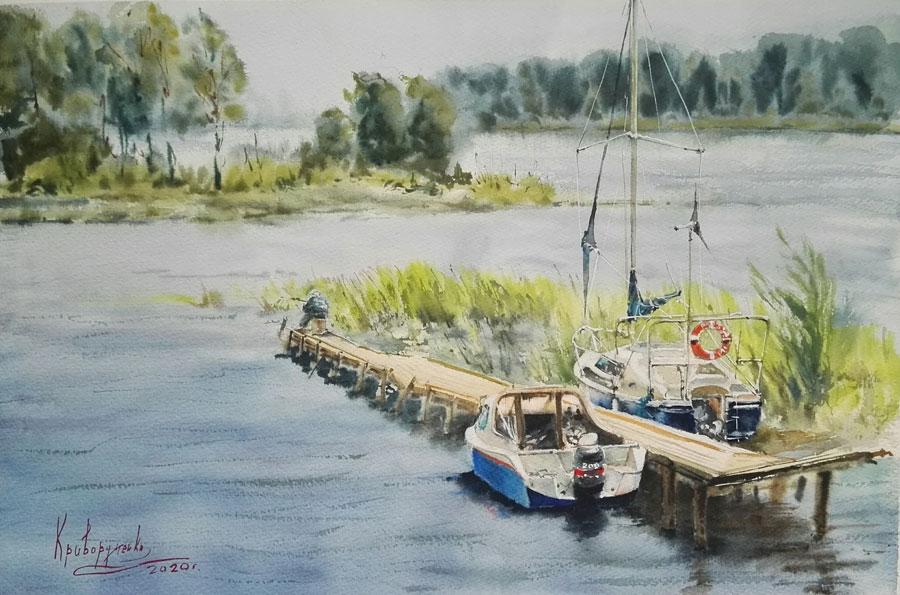 Селигер в современной живописи, яхта рыбака
