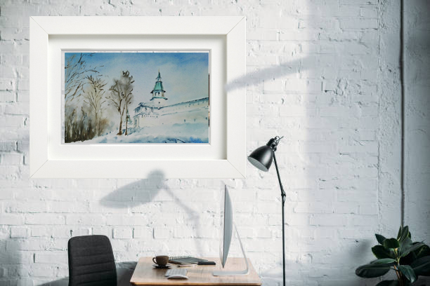 живопись монастырь зимний пейзаж на стене