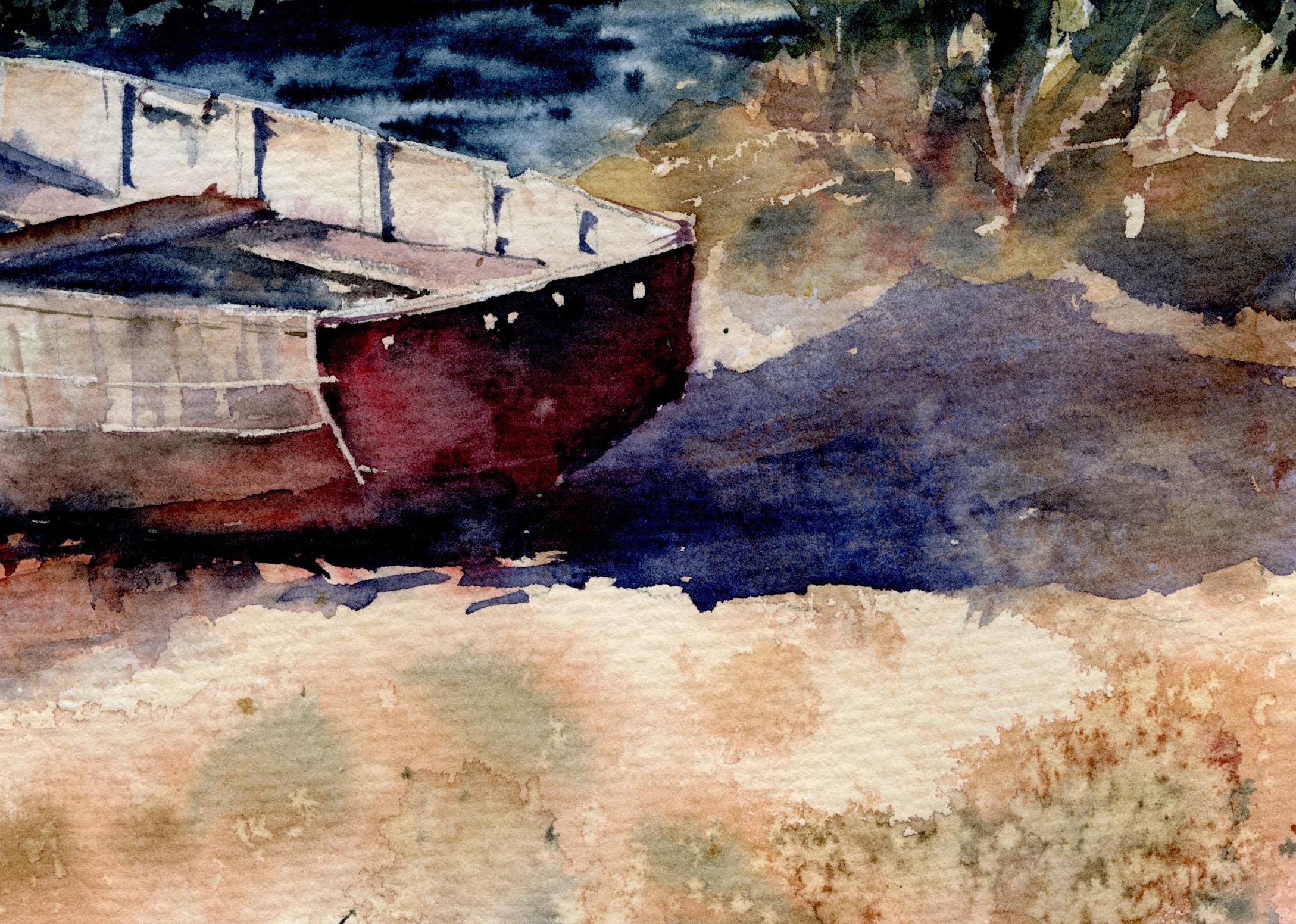 фрагмент картины берег лодка