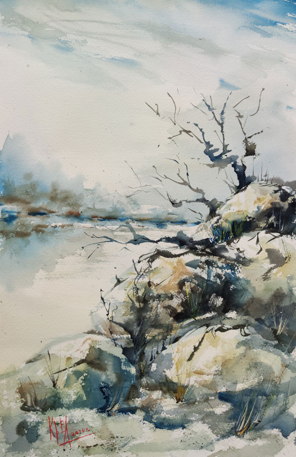 painting watercolor contemporary art modern art painting on paper contemporary aquarelle abstractism landscape nature