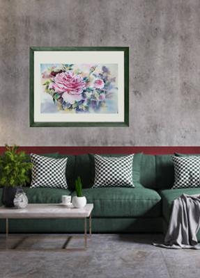 картина подарок серая стена зеленый интерьер