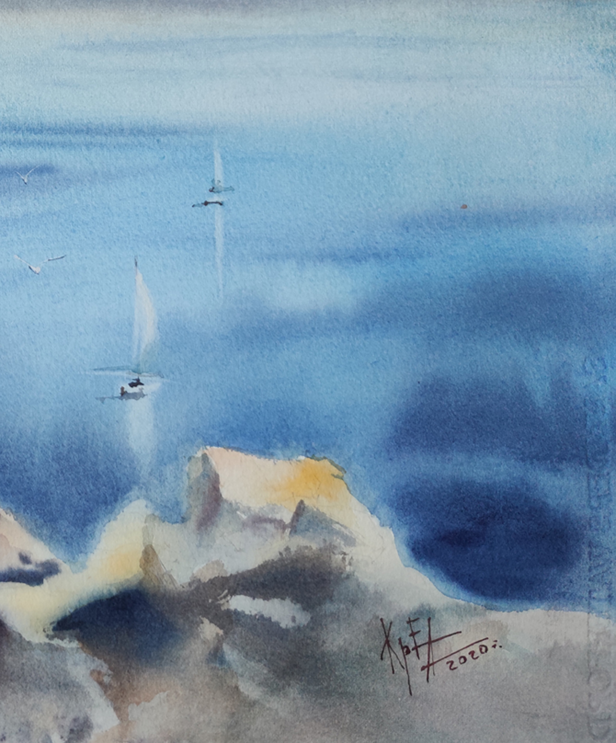 modern art painting on paper contemporary aquarelle abstractism landscape nature