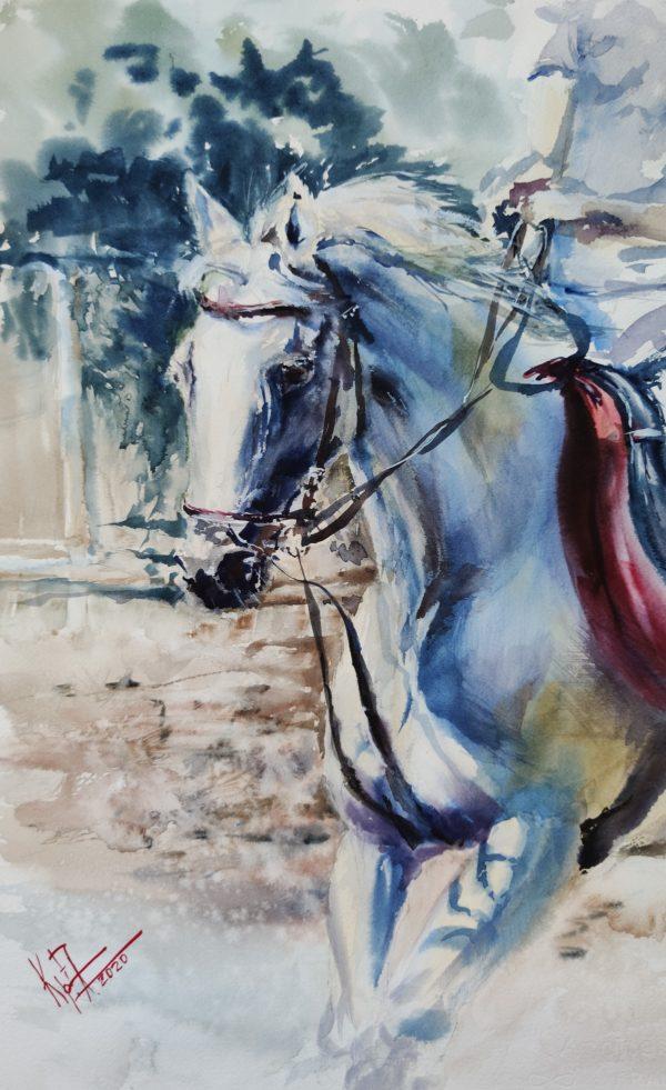 картина акварелью спортивная лошадь